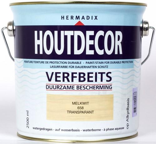 Hermadix houtdecor verfbeits, transparant, nr. 658 melkwit, blik 2,5 liter