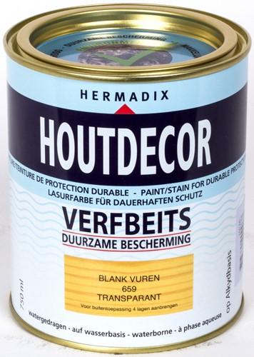Hermadix houtdecor verfbeits, transparant, nr. 659 blank vuren, blik 0,75 liter