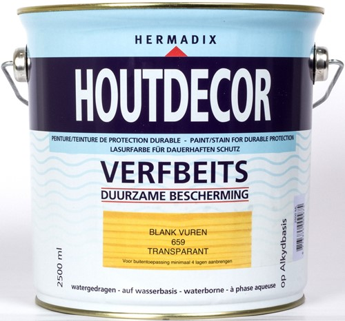 Hermadix houtdecor verfbeits, transparant, nr. 659 blank vuren, blik 2,5 liter