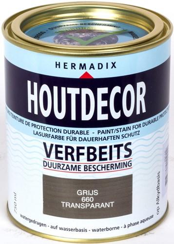 Hermadix houtdecor verfbeits, transparant, nr. 660 grijs, blik 0,75 liter