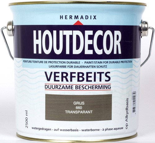 Hermadix houtdecor verfbeits, transparant, nr. 660 grijs, blik 2,5 liter