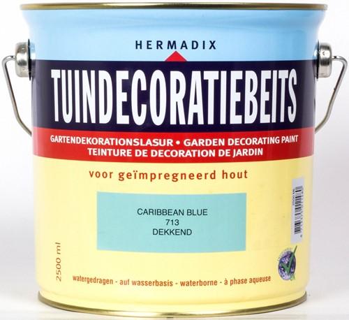 Hermadix tuindecoratiebeits, dekkend, nr. 713 caribbean blue, blik 2,5 liter