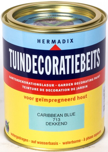 Hermadix tuindecoratiebeits, dekkend, nr. 713 caribbean blue, blik 0,75 liter