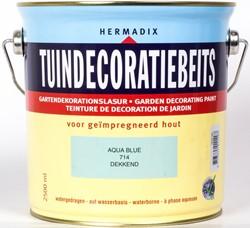 Hermadix tuindecoratiebeits, dekkend, nr. 714 aqua blue, blik 2,5 liter