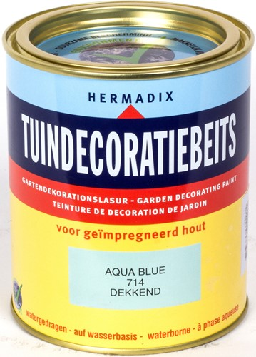 Hermadix tuindecoratiebeits, dekkend, nr. 714 aqua blue, blik 0,75 liter