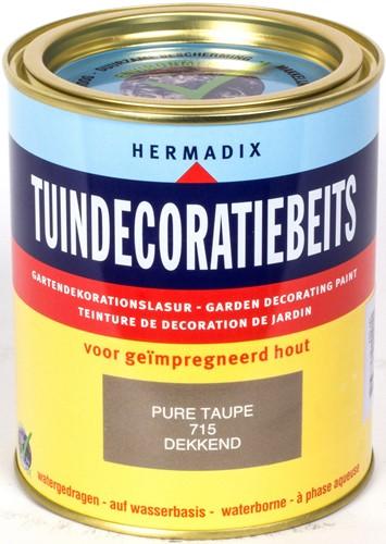 Hermadix tuindecoratiebeits, dekkend, nr. 715 pure taupe, blik 0,75 liter