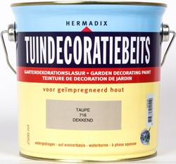 Hermadix tuindecoratiebeits, dekkend, nr. 716 taupe, blik 2,5 liter