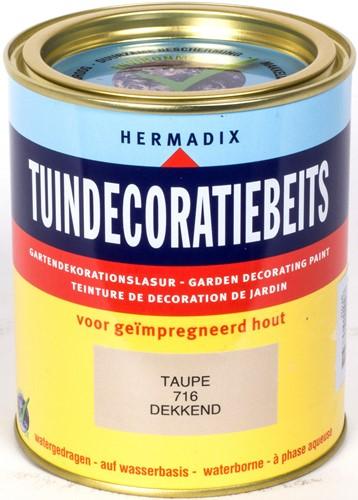 Hermadix tuindecoratiebeits, dekkend, nr. 716 taupe, blik 0,75 liter
