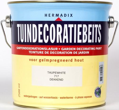 Hermadix tuindecoratiebeits, dekkend, nr. 717 taupe white, blik 2,5 liter