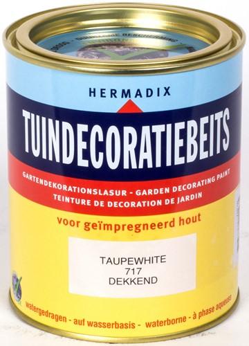 Hermadix tuindecoratiebeits, dekkend, nr. 717 taupe white, blik 0,75 liter