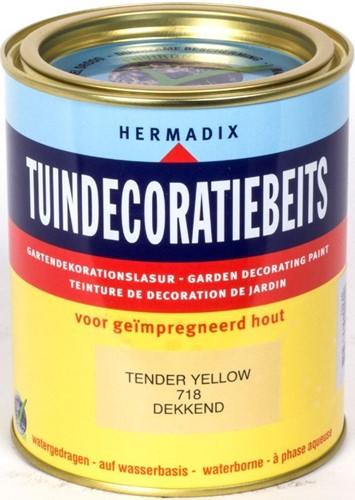 Hermadix tuindecoratiebeits, dekkend, nr. 718 tender yellow, blik 0,75 liter