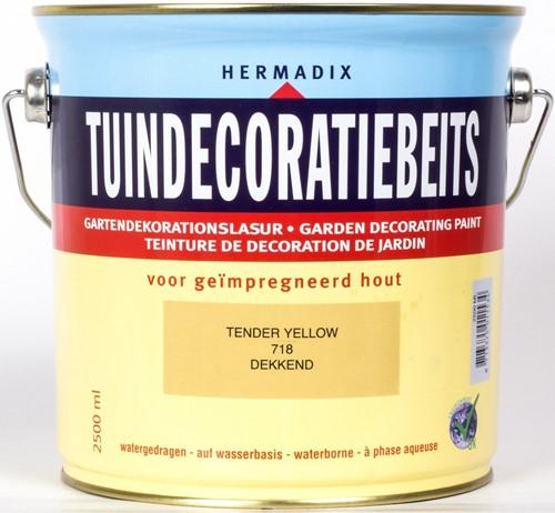 Hermadix tuindecoratiebeits, dekkend, nr. 718 tender yellow, blik 2,5 liter