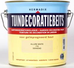 Hermadix tuindecoratiebeits, dekkend, nr. 719 allure white, blik 2,5 liter