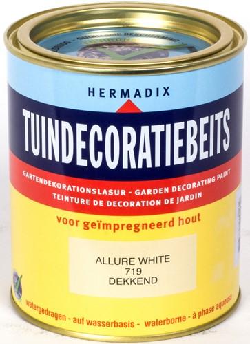 Hermadix tuindecoratiebeits, dekkend, nr. 719 allure white, blik 0,75 liter
