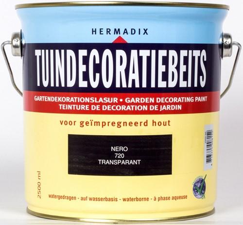Hermadix tuindecoratiebeits, transparant, nr. 720 nero, blik 2,5 liter