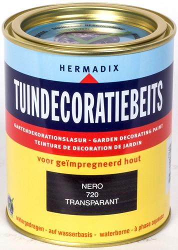 Hermadix tuindecoratiebeits, transparant, nr. 720 nero, blik 0,75 liter