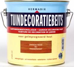 Hermadix tuindecoratiebeits, transparant, nr. 761 zweeds rood, blik 2,5 liter