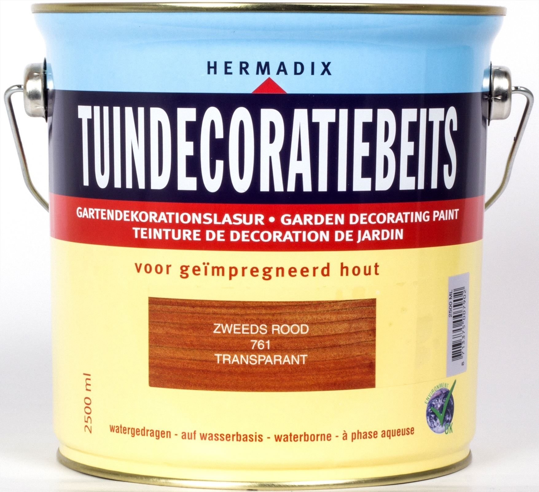 Hermadix beits Hermadix tuindecoratiebeits, transparant, nr. 761 zweeds rood, blik 2,5 liter