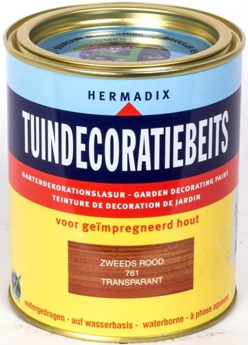 Hermadix tuindecoratiebeits, transparant, nr. 761 zweeds rood, blik 0,75 liter