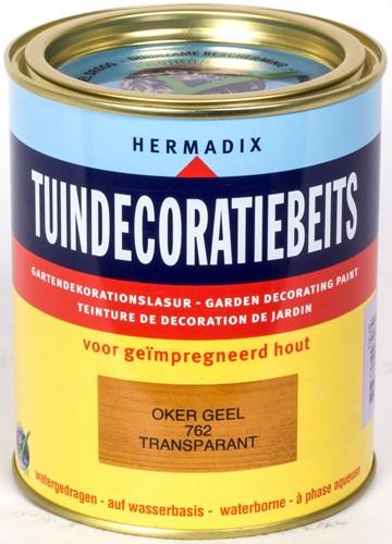 Hermadix tuindecoratiebeits, transparant, nr. 762 oker geel, blik 0,75 liter