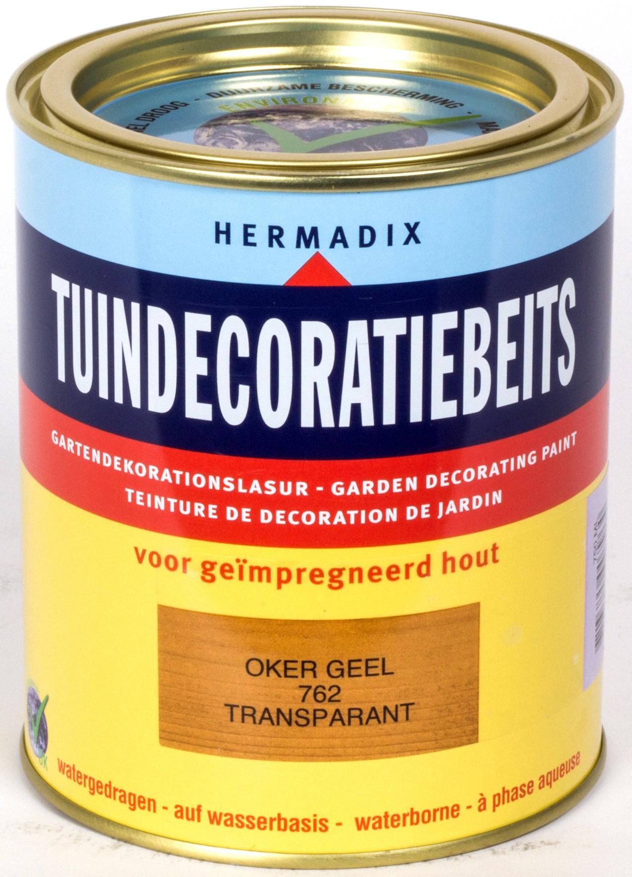 Hermadix beits Hermadix tuindecoratiebeits, transparant, nr. 762 oker geel, blik 0,75 liter