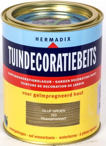 Hermadix tuindecoratiebeits, transparant, nr. 763 olijf groen, blik 0,75 liter