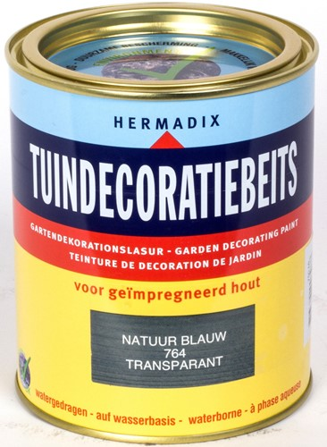 Hermadix tuindecoratiebeits, transparant, nr. 764 natuur blauw, blik 0,75 liter