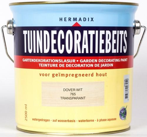 Hermadix tuindecoratiebeits, transparant, nr. 765 dover wit, blik 2,5 liter