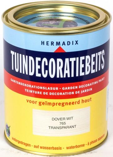 Hermadix tuindecoratiebeits, transparant, nr. 765 dover wit, blik 0,75 liter