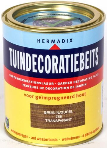 Hermadix tuindecoratiebeits, transparant, nr. 766 bruin, blik 0,75 liter
