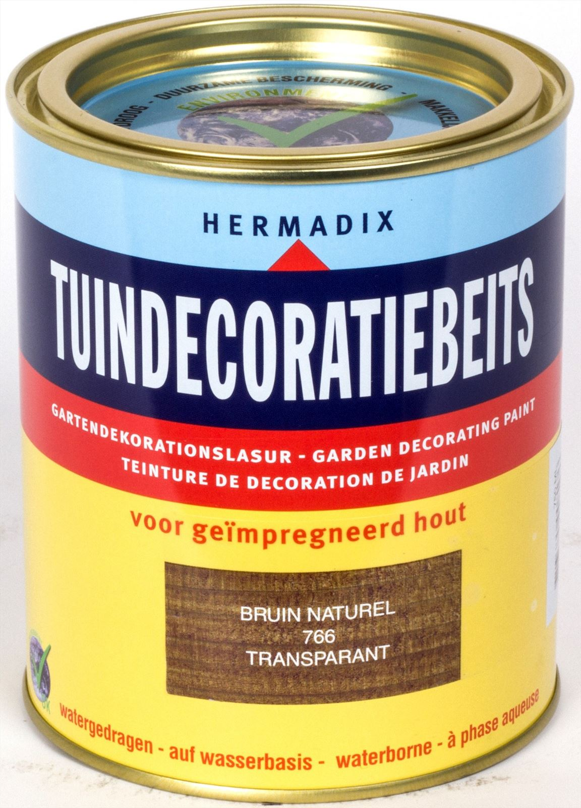 Hermadix beits Hermadix tuindecoratiebeits, transparant, nr. 766 bruin, blik 0,75 liter