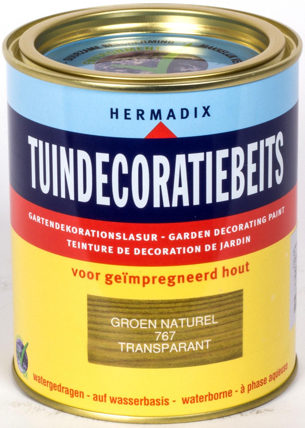 Hermadix beits Hermadix tuindecoratiebeits, transparant, nr. 767 groen, blik 0,75 liter