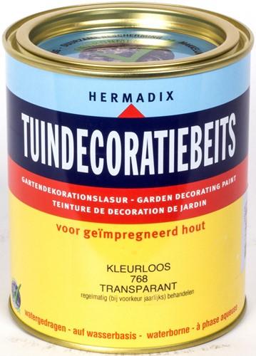 Hermadix tuindecoratiebeits, transparant, nr. 768 kleurloos, blik  0,75 liter