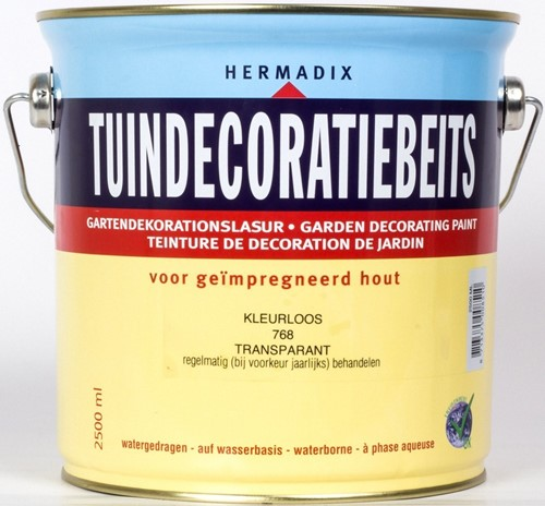 Hermadix tuindecoratiebeits, transparant, nr. 768 kleurloos, blik 2,5 liter