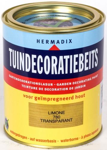 Hermadix tuindecoratiebeits, transparant, nr. 780 limone, blik  0,75 liter