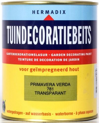 Hermadix tuindecoratiebeits, transparant, nr. 781 primavera verde, blik 2,5 liter