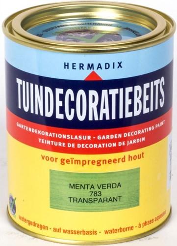 Hermadix tuindecoratiebeits, transparant, nr. 783 menta verda, blik 0,75 liter