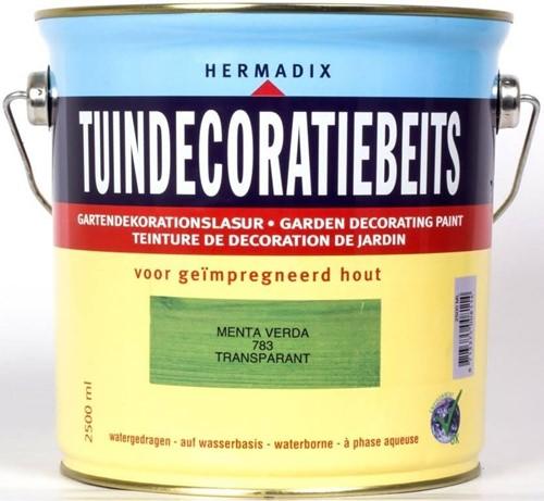 Hermadix tuindecoratiebeits, transparant, nr. 783 menta verda, blik 2,5 liter