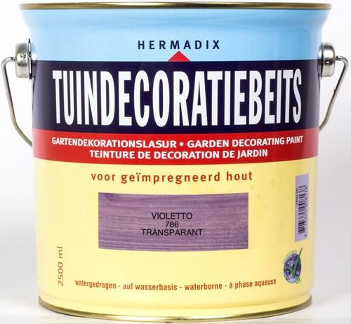 Hermadix tuindecoratiebeits, transparant, nr. 786 violetto, blik 2,5 liter