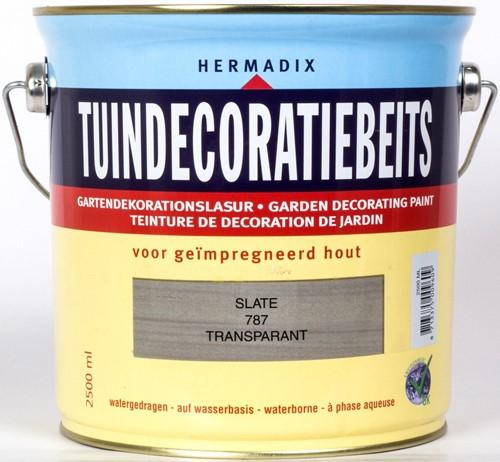 Hermadix tuindecoratiebeits, transparant, nr. 787 slate, blik 2,5 liter
