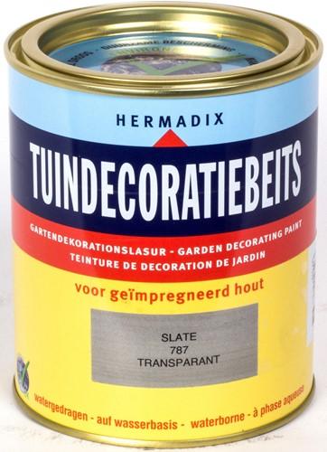 Hermadix tuindecoratiebeits, transparant, nr. 787 slate, blik 0,75 liter