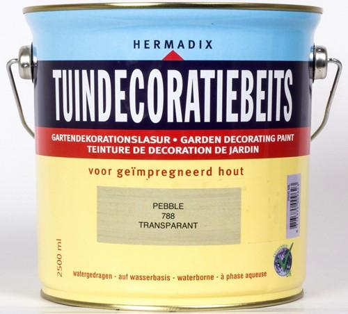 Hermadix tuindecoratiebeits, transparant, nr. 788 pebble, blik 2,5 liter