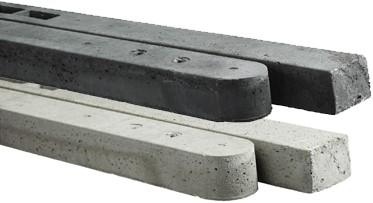 beton tussenpaal/eindpaal antraciet voor hout/betonschutting 10x10 met 2 onderplaten, lengte 300 cm, ruw