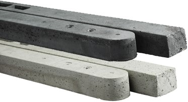 beton t-paal/hoekpaal voor hout/betonschutting 10x10 met rechtscherm, lengte 280 cm, antraciet ruw