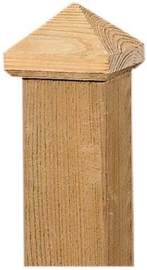paalornament piramide hout 7x7 cm