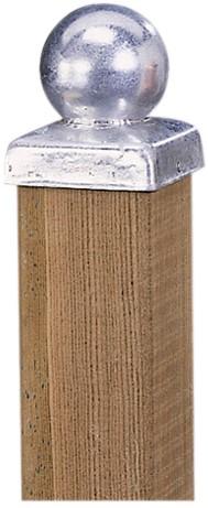paalornament metaal bol + plaat 7x7 cm