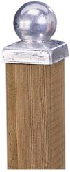 paalornament metaal bol + plaat 9x9 cm