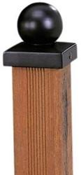 paalornament zwart bol + plaat 7x7 cm