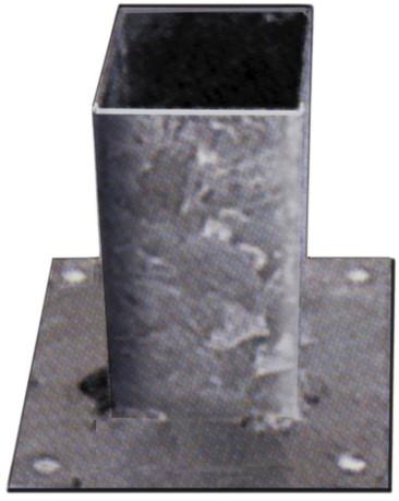 paalhouder op plaat verzinkt 14x 14 cm