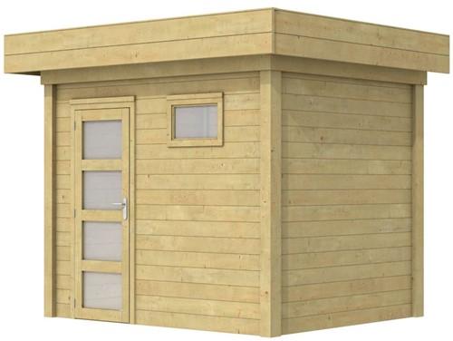 Blokhut Korhoen, afm. 303 x 203 cm, plat dak, houtdikte 28 mm. - groen geïmpregneerd